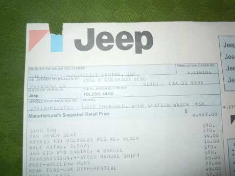 Jeff's 1977 Jeep Cherokee WIndow Sticker